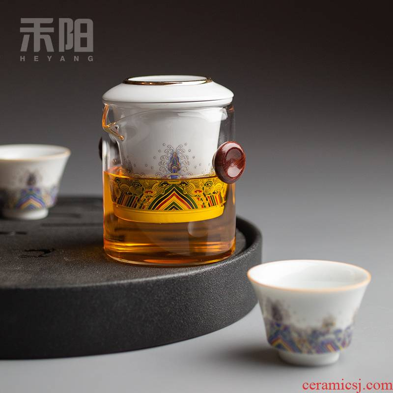 Send Yang ceramic tea tea ware ears against the hot heat - resistant glass teapot contracted portable travel kung fu tea set