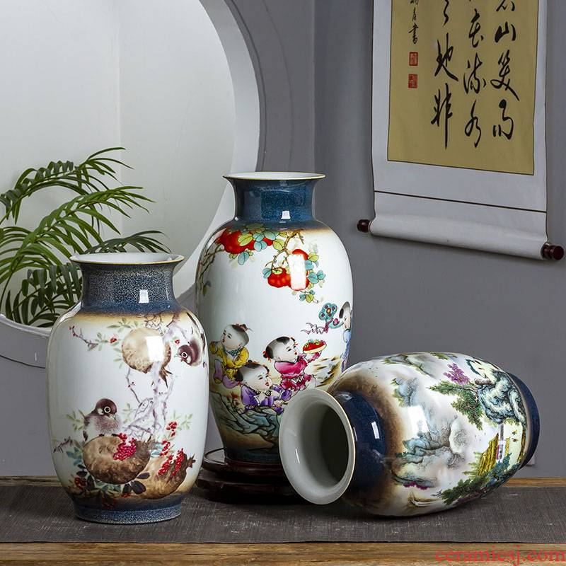 Jingdezhen ceramic vase hand - made vases, flower arrangement sitting room dried flowers, modern Chinese style household small ornament adornment