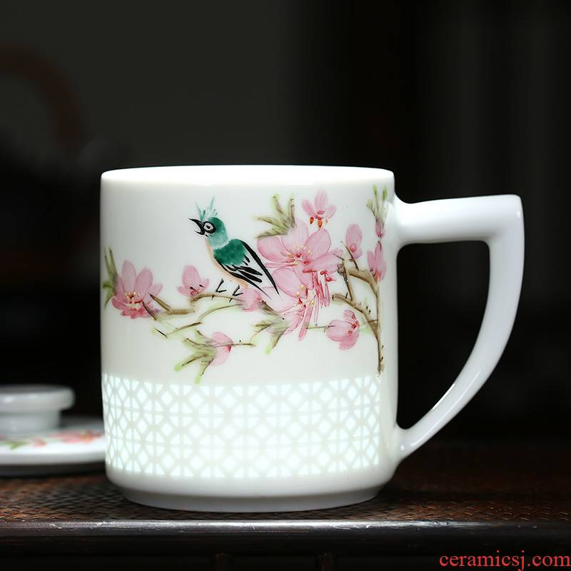 Hand - made ceramic filter with cover cup separation tea tea cup jingdezhen porcelain and exquisite porcelain teacup gift cups