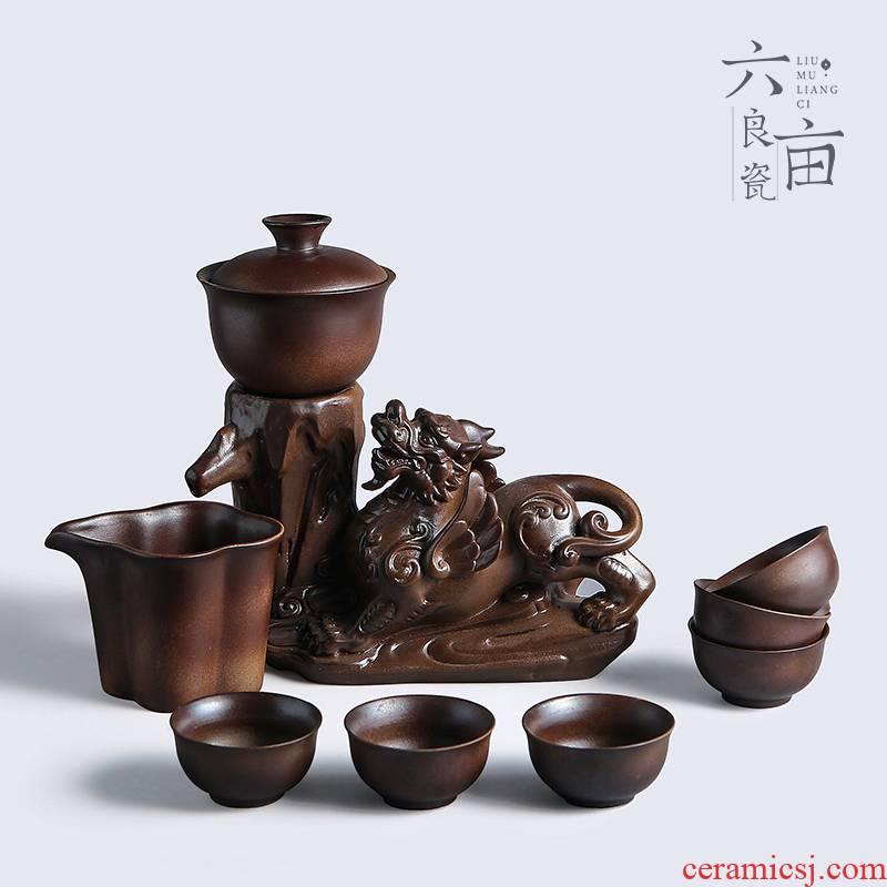 Semi automatic tea set contracted household ceramics lazy people make tea, creative kung fu tea cups of a complete set of