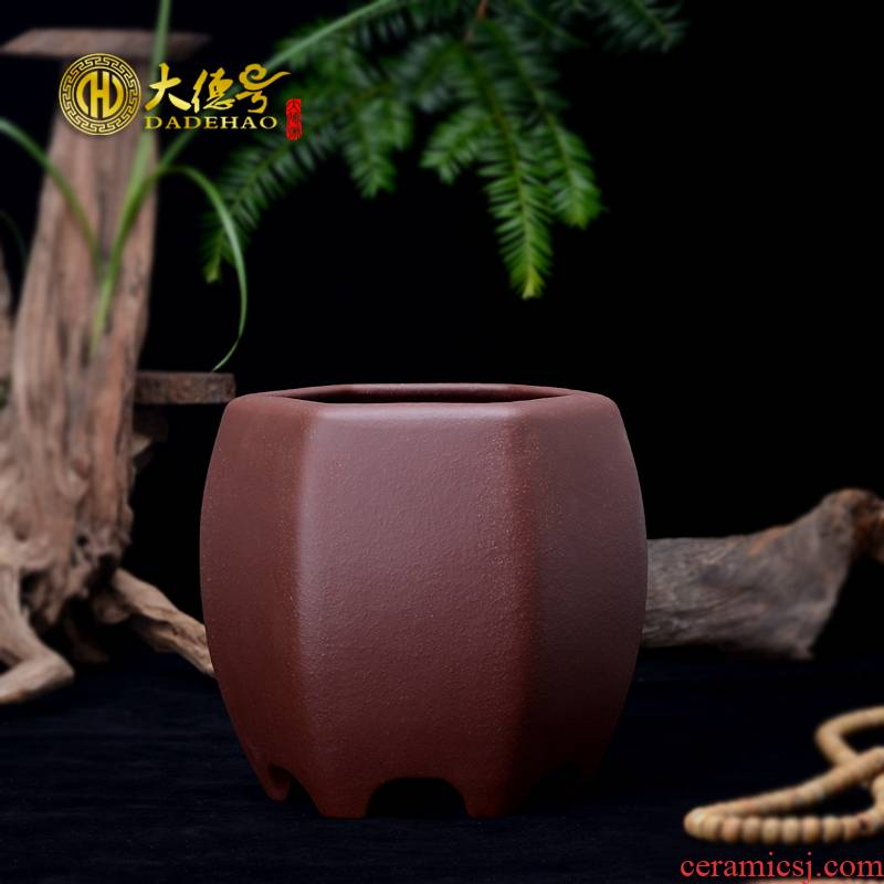 Greatness, yixing undressed ore purple sand flowerpot exquisite bonsai pot purple clay Guo expressions using basin clivia six - party orchids
