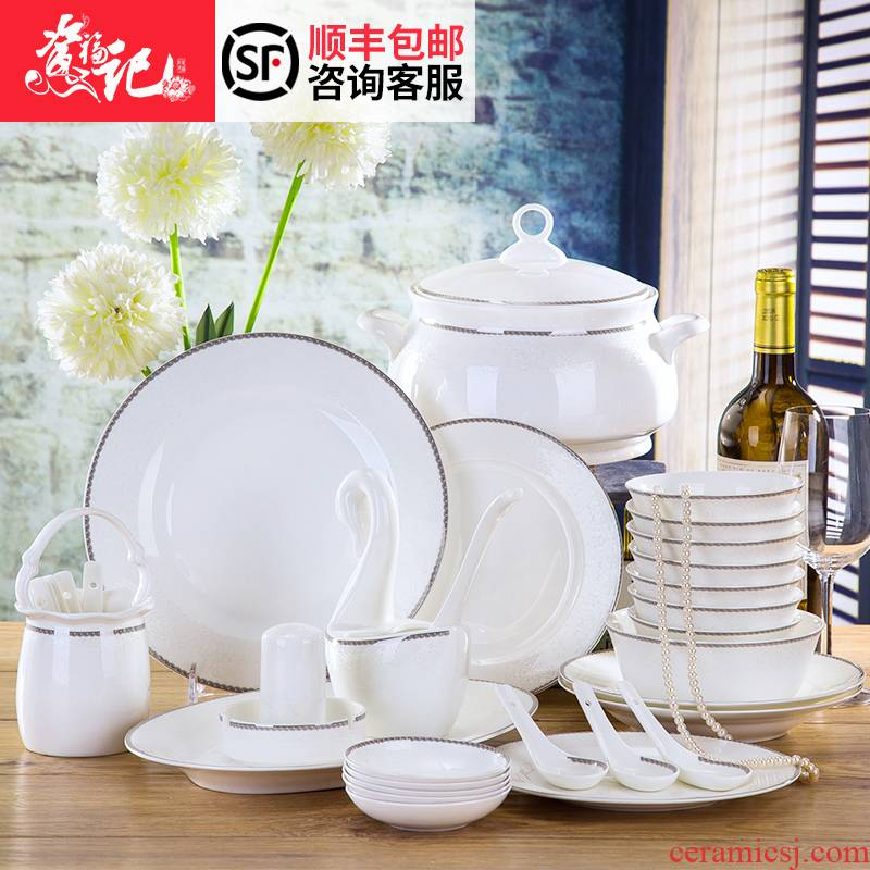 Tableware suit jingdezhen contracted Chinese chopsticks combination ipads China Tableware dishes suit household gifts