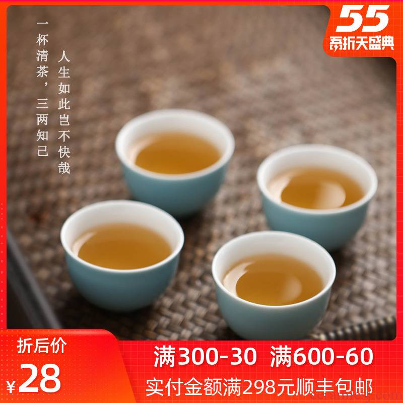 Bright to taste tea cup single jingdezhen ceramic female kung fu tea set manual Chinese style household small tea masters cup