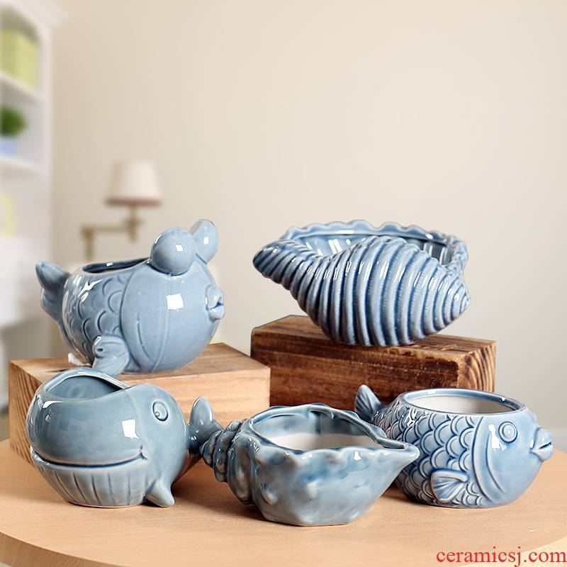End of Marine animals, simple flow glaze continental ideas more lovely move ceramic flower pot, small and pure and fresh meat of