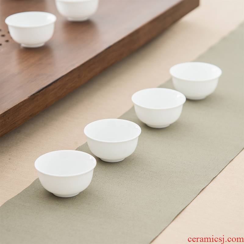 The high time household kunfu tea cups white porcelain jade porcelain sample tea cup, master cup ceramic tea cup bowl, pure white