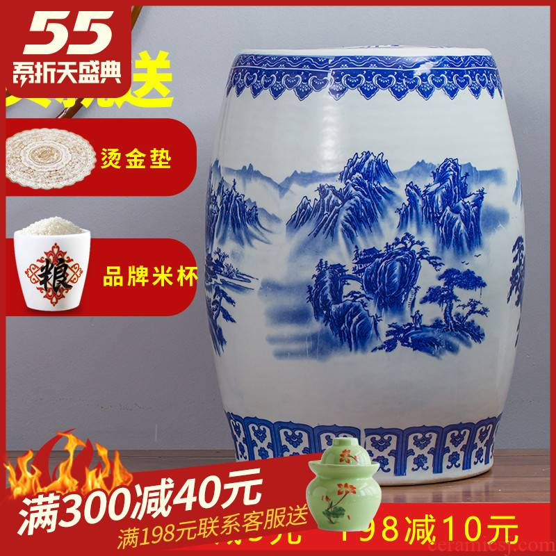 50 kg loading ceramic barrel rice bucket 30 jins 20 jins storage bins household insect moistureproof flour with cover seal box