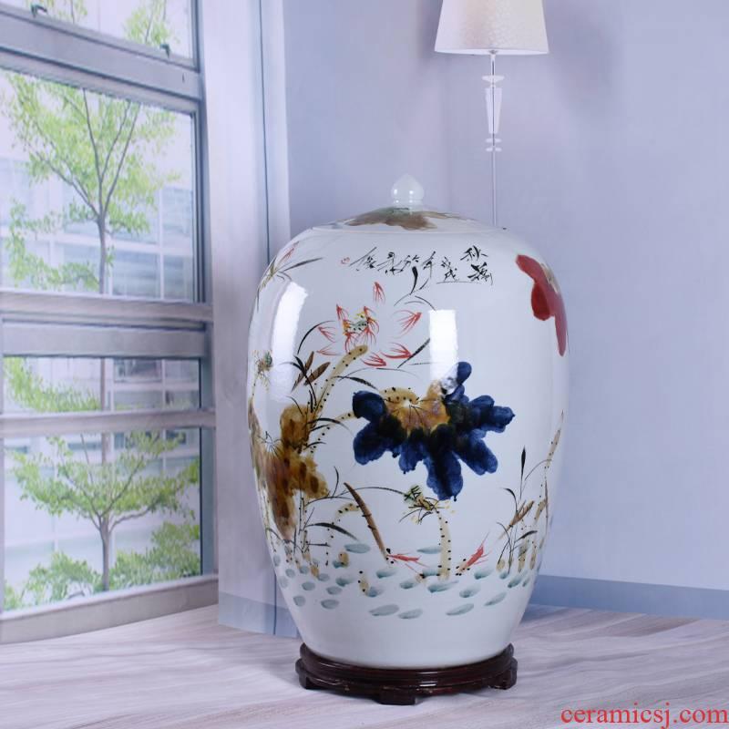 Ceramics 50 kg 100 jins with cover barrel ricer box surface flour cylinder pickles cylinder storage tank of jingdezhen