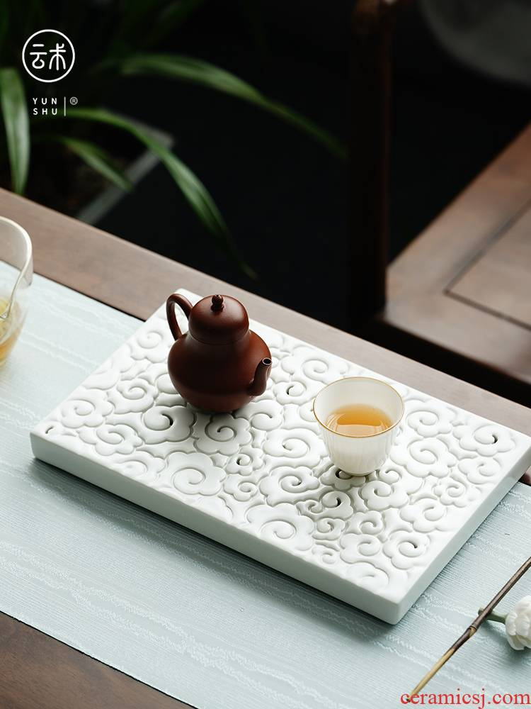 Cloud contracted household xiangyun ceramic tea tray amphibious operation dry small pot of water storage type bearing plate of tea saucer