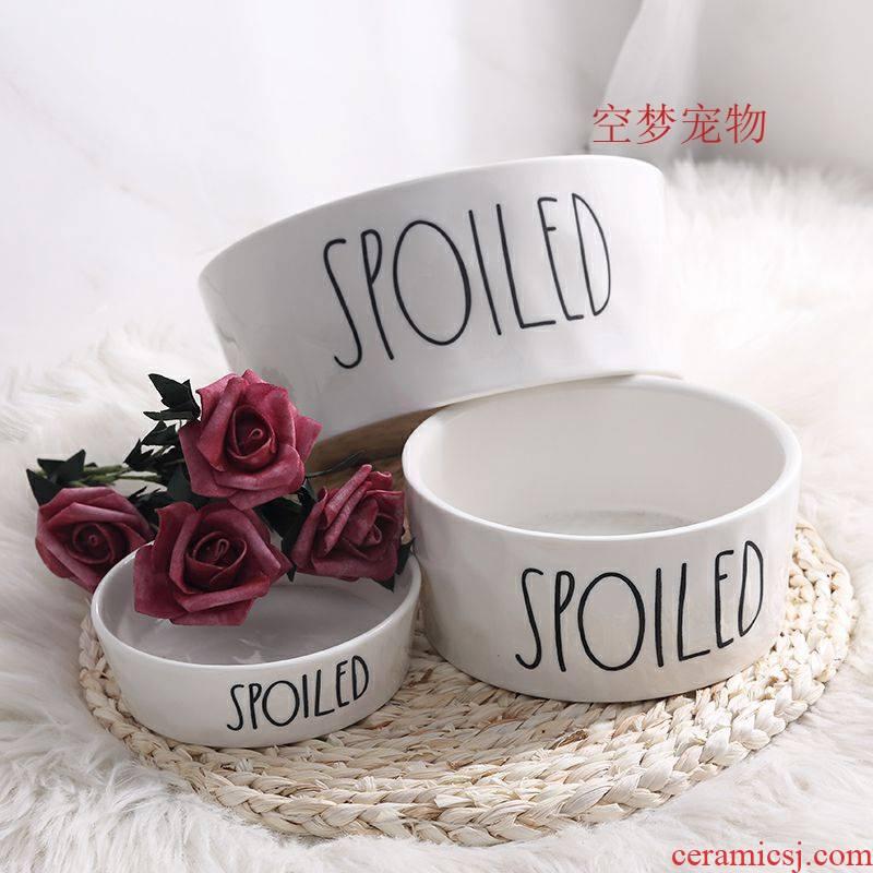 Pet bowl ceramic golden retriever dog bowl cat bowl bowl teddy dog food bowl water bowl over large breed rice basin empty dream