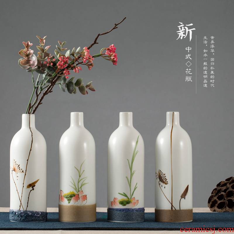 Jingdezhen hand - made lucky bamboo floret bottle furnishing articles new Chinese flower arranging creative move artistic ceramic flower implement sitting room