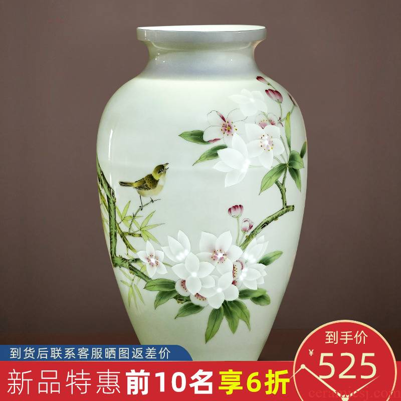 Jingdezhen ceramics vase hand - made of new Chinese style household, sitting room adornment flower arranging rich ancient frame handicraft furnishing articles