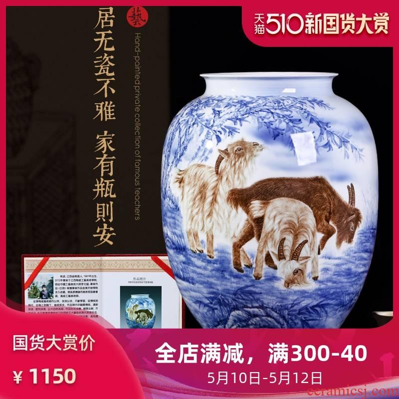 Master hand draw animal zodiac ceramic vases, jingdezhen ceramics decoration craft gift collection furnishing articles