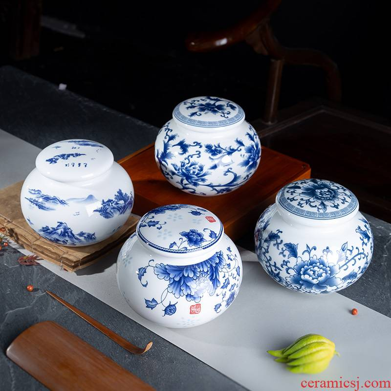 Number, jingdezhen ceramic medium caddy fixings POTS sealed drum high - white porcelain jar of blue and white porcelain storage tanks