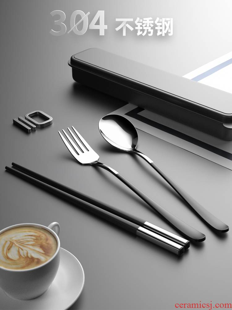 Chopsticks spoons suit single fork feed students receive a case to carry commuters portable three - piece cutlery boxes