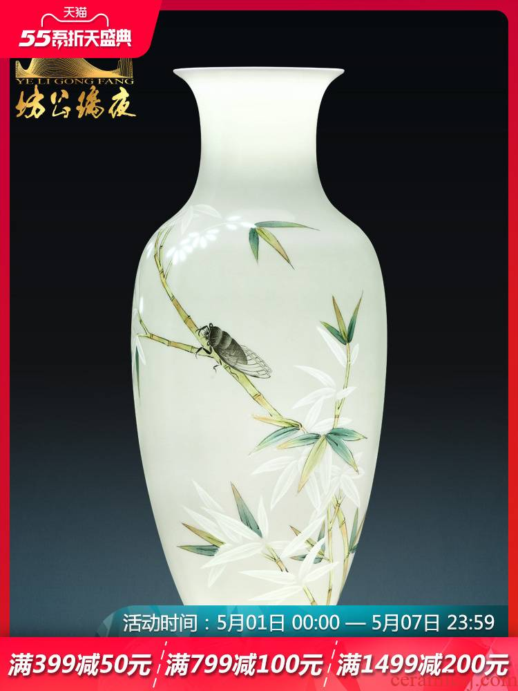 Jingdezhen ceramics vase furnishing articles flower arranging bamboo cool breeze sitting room adornment furnishing articles of the new Chinese style household