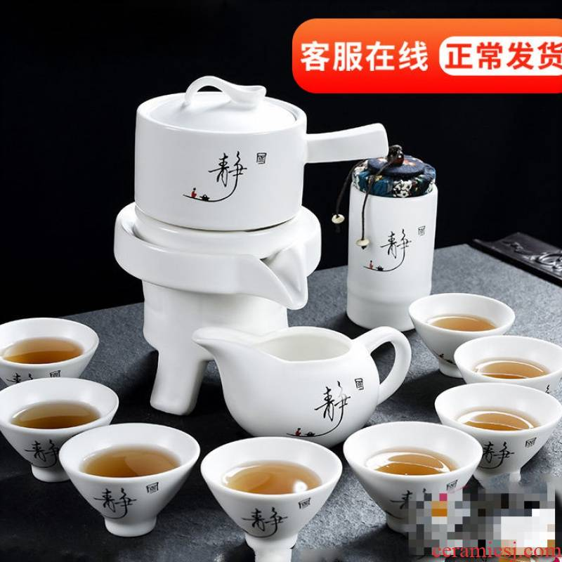 Ice crack glaze complete semi - automatic kung fu tea set the whole outfit lazy man with tea is ceramic teapot teacup violet arenaceous