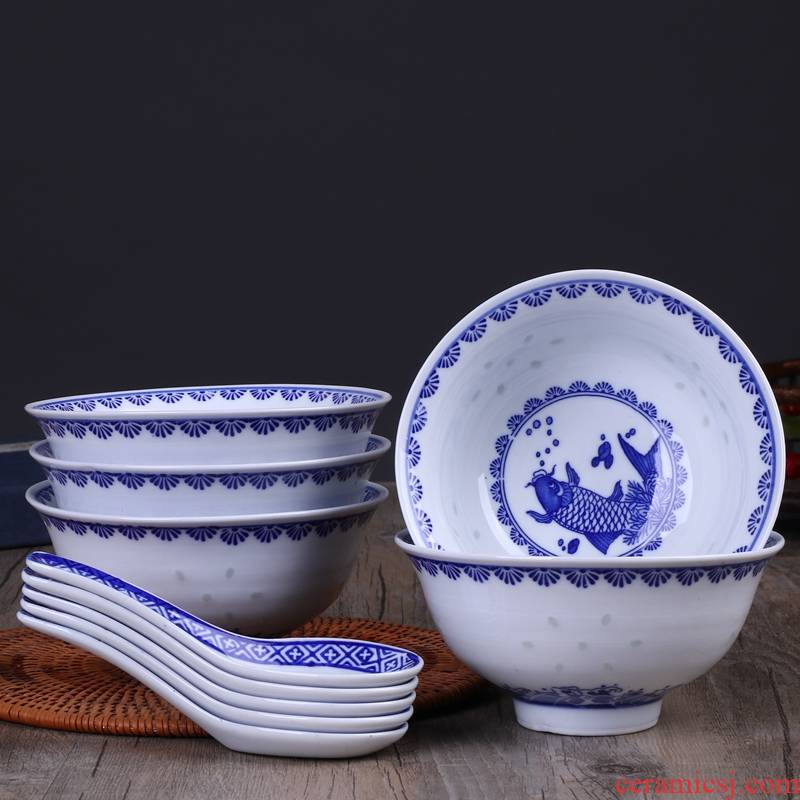 Blue and white porcelain bowls suits for domestic ltd. restoring ancient ways is 5 inches and exquisite tableware eat bread and butter of jingdezhen ceramic bowl, small bowl