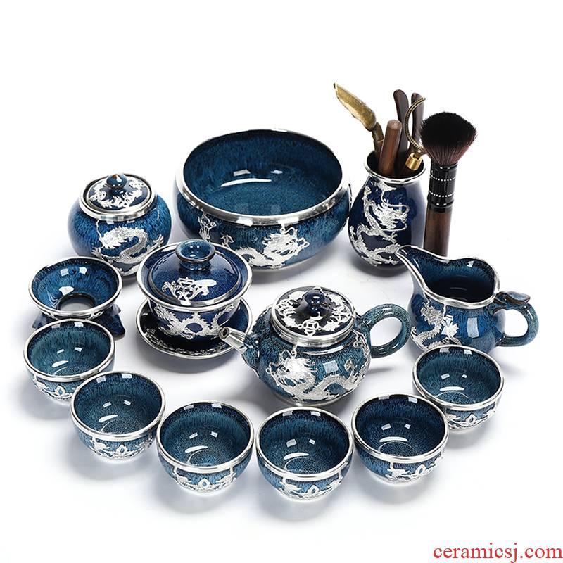 Recreational product an inset jades of jingdezhen tea service suit household ceramic cups tureen set YinJian teapot office