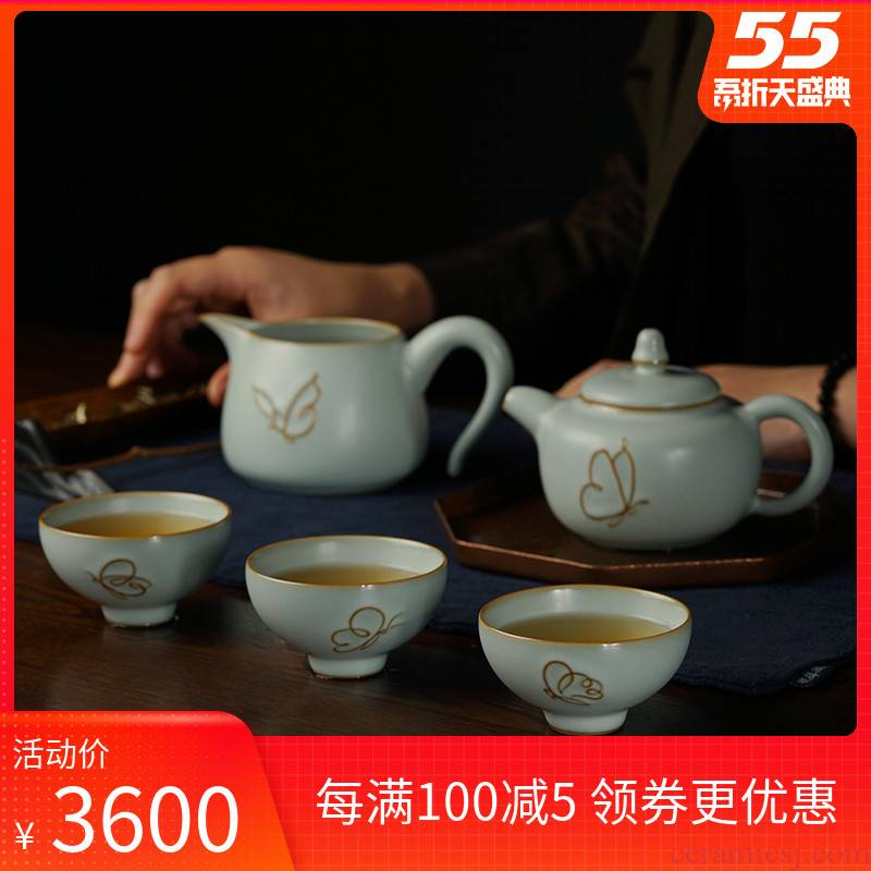 Green has already your up kung fu tea set home sitting room tea contracted jingdezhen ceramic ice crack glaze of a complete set of the teapot