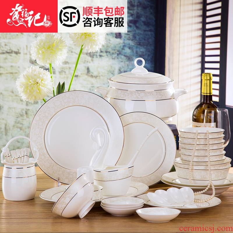 Dishes suit jingdezhen 58 head of high - grade ipads China tableware creative household European Dishes Dishes chopsticks at home