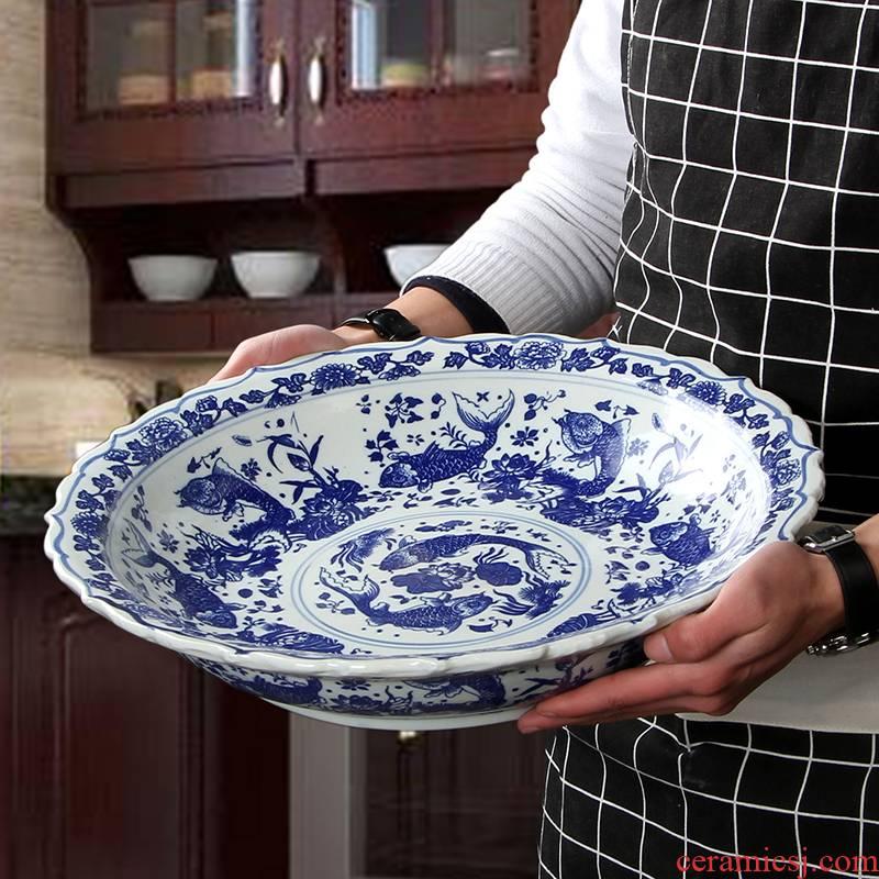 Steamed fish plates large household ceramic fish dish large pickled fish bowl dish pepper fish head big circular plate