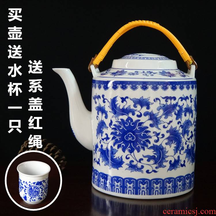 Jingdezhen porcelain explosion - proof heat resistant ceramic girder pot of cold water oversized large capacity mail nostalgic old teapot bag