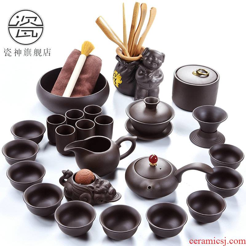 Porcelain clay ore violet arenaceous zhu xi shi god pot of kung fu tea set to restore ancient ways household 6 gentleman cup tea accessories