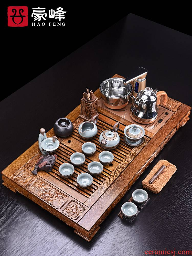 HaoFeng kung fu tea set home tea cups contracted chicken wings wood tea tray of a complete set of automatic electric furnace