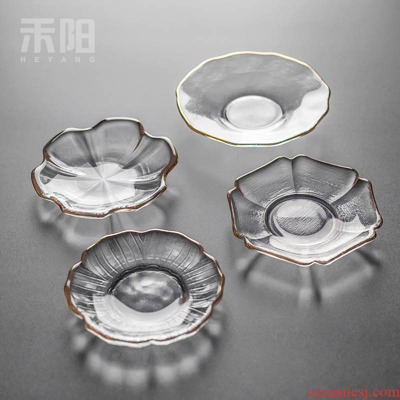 Send Yang glass cup mat circular sample tea cup pad insulation pad butterfly saucer kung fu tea tea tea accessories