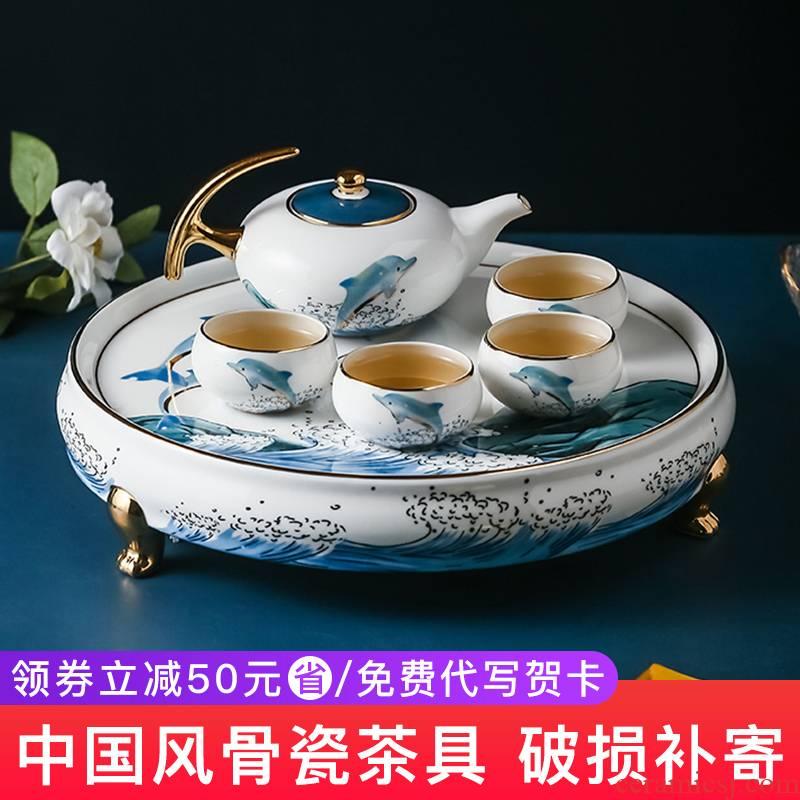 Ceramic tea set kung fu tea set household of Chinese style tea kettle contracted tea tea art wedding gifts