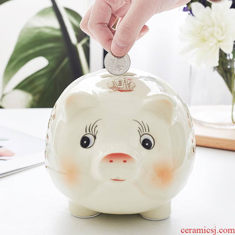 Piggy bank express boy children web celebrity pig adults with a home not desirable ceramic store money Piggy bank