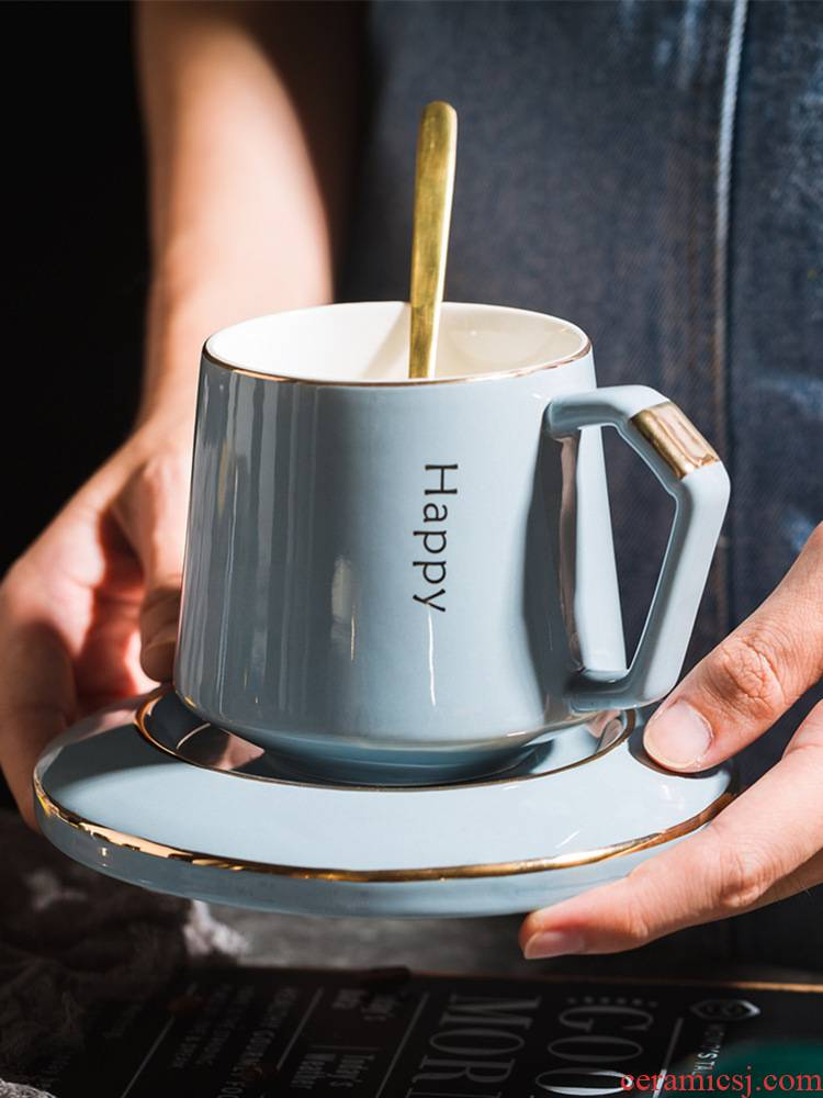 Creative ceramic coffee cups and saucers small European - style key-2 luxury mark cup with cover spoon stirring cup suits for domestic cups