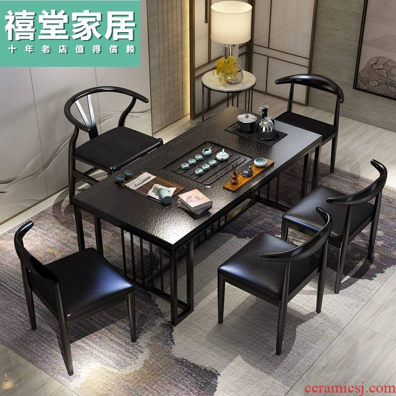New Chinese style household contracted sitting room fire stone kung fu tea tea table of modern office furniture combination tea