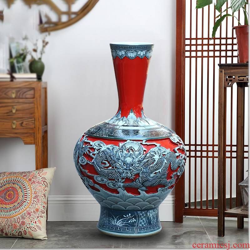 Jingdezhen ceramics by hand carved dragon xiangyun large vases, arranging flowers to decorate the sitting room TV ark, furnishing articles