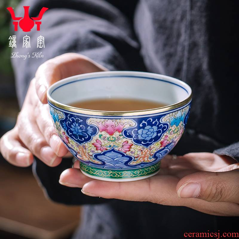 Clock home up with jingdezhen ceramic cups hand - made colored enamel masters cup high - end tea master cup sample tea cup single CPU