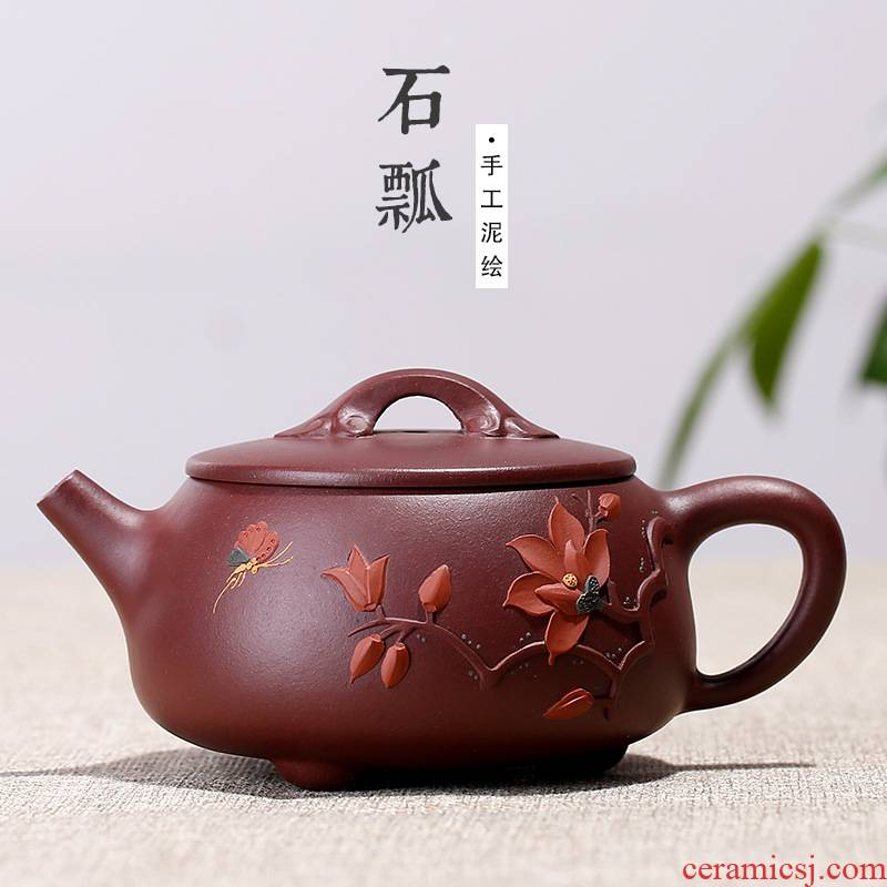 Purple orchid running the mud painting best stone gourd ladle pot of ink, senior technology artists' s travel tea set the teapot