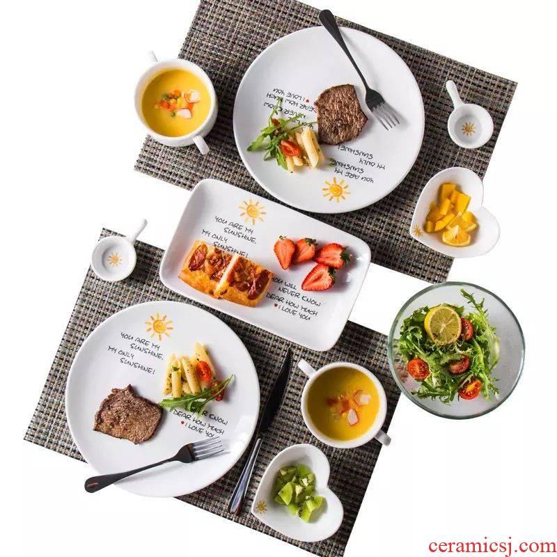 Household steak western food plate full creative couples steak knife and fork spoon, ceramic dinner salad plate suit
