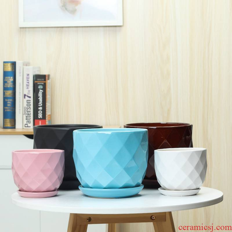 Contracted ceramic flower POTS with tray was oversized colored fleshy other clivia sitting room indoor pot wholesale