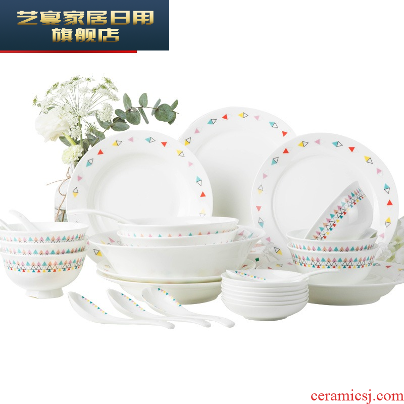 Dishes suit domestic cartoon bowl of jingdezhen ceramic creative contracted and pure and fresh soup bowl Dishes suit tableware plate