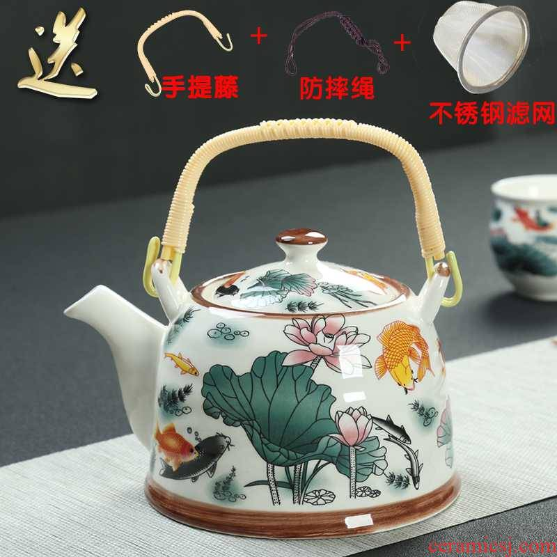 Blue large capacity girder teapot tropical filtration to hold hotel home restaurant ceramic tea cold, kettle