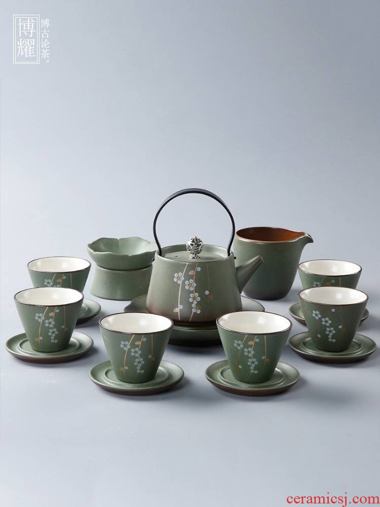 Bo yao tea set a complete set of Japanese coarse pottery kung fu tea set household hand - made girder pot of tea ware customize logo