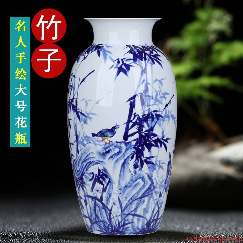 Jingdezhen hand - made bamboo report peaceful big blue and white porcelain vase furnishing articles wide expressions using ceramic sitting room decoration home decoration