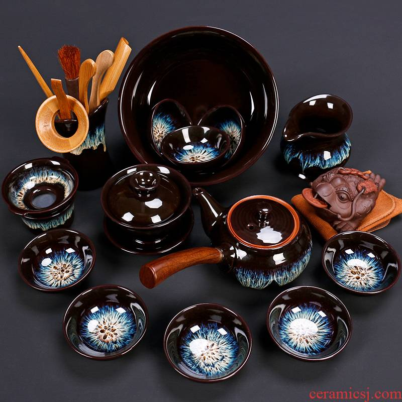 Tao blessing up built red glaze, the tea set the home of a complete set of tea sets the teapot teacup masterpieces group