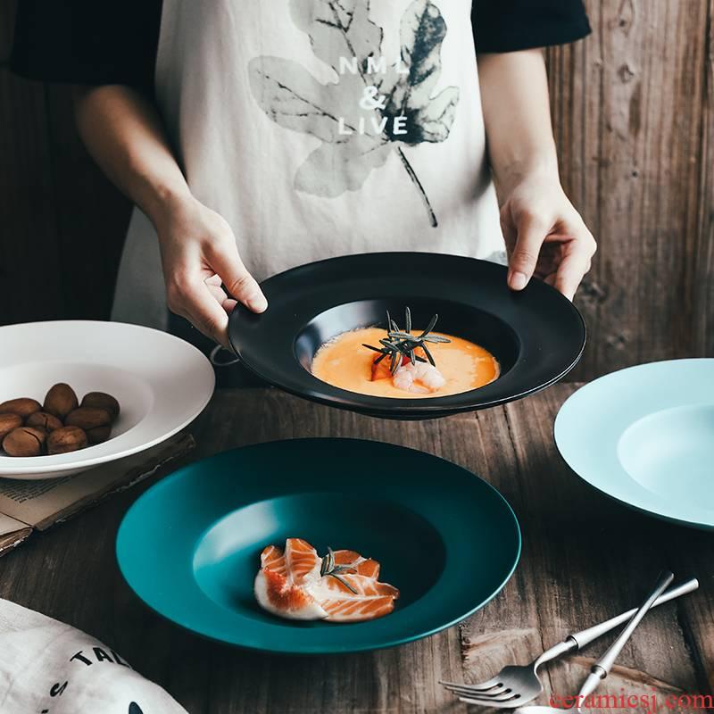 Nordic creative ceramic pasta dish food dish deep dish of household food dish tableware straw hat dish soup plate FanPan disc