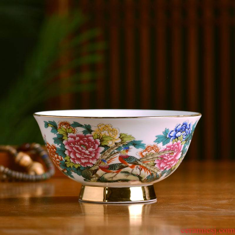 Jingdezhen up phnom penh household of Chinese style ipads porcelain face soup bowl large rice bowls court enamel archaize bowl of bowls of gift