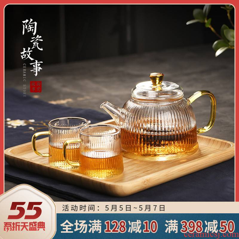 Ceramic glass teapot story single flower pot pot of tea separation Japanese little teapot tea ware