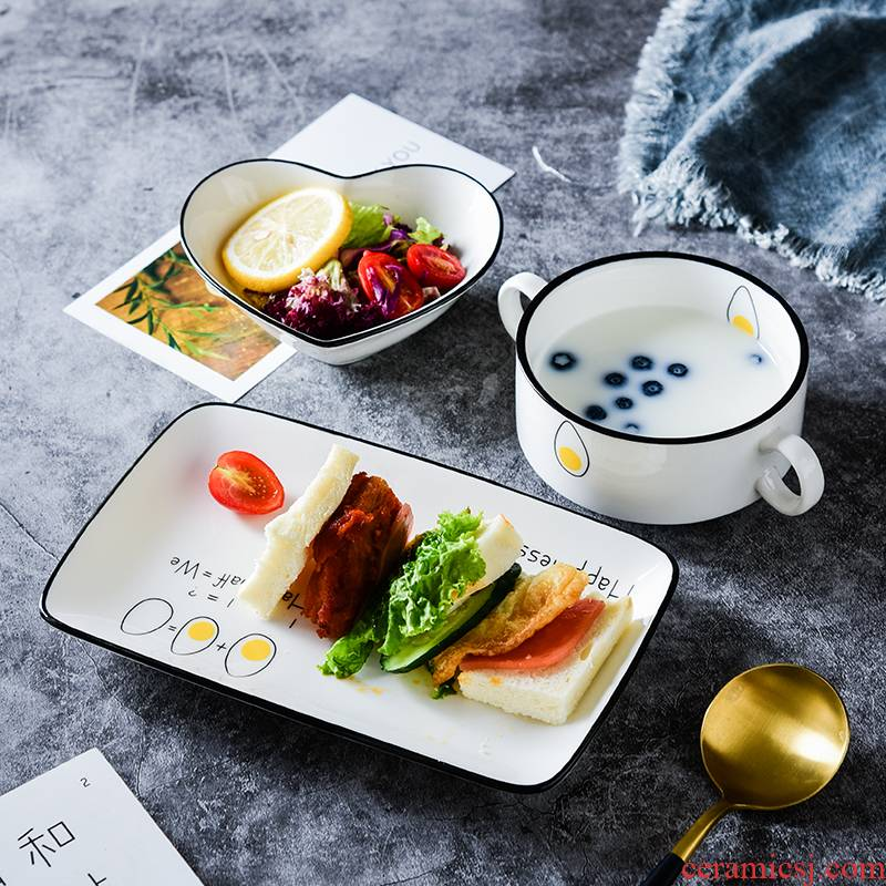 Creative picking cutlery set ceramic bowl of a food web celebrity breakfast Japanese dishes single lili home children