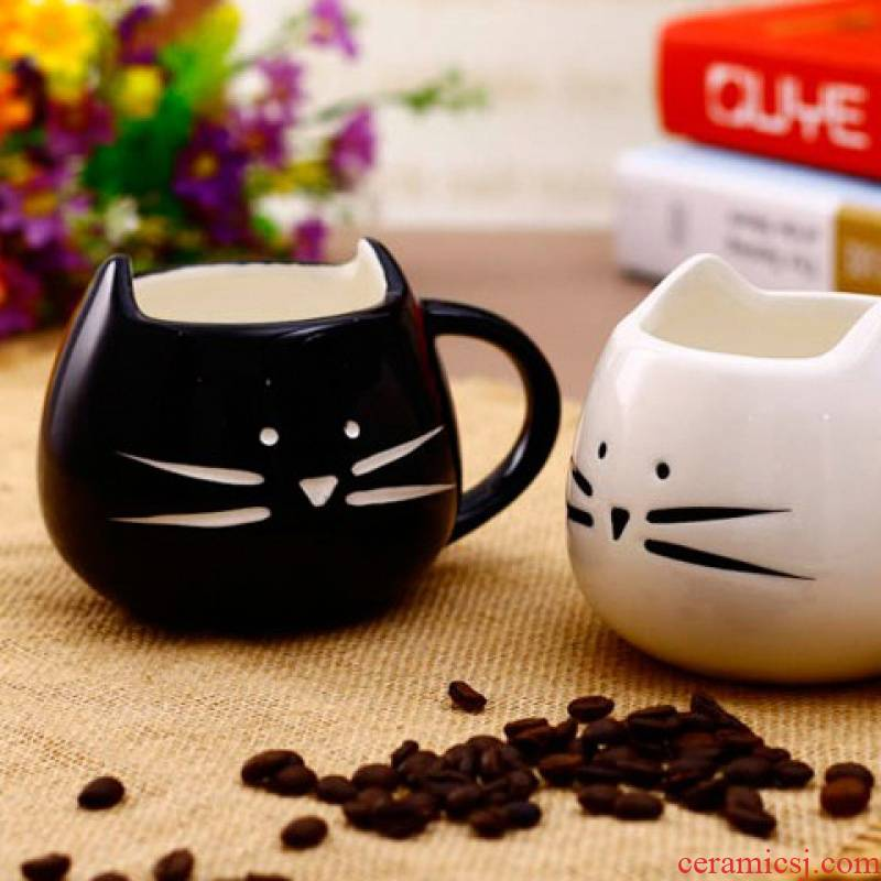 Jingdezhen ceramic, black and white cat express it in ceramic cup contracted couples mark cup for cup cat coffee cup