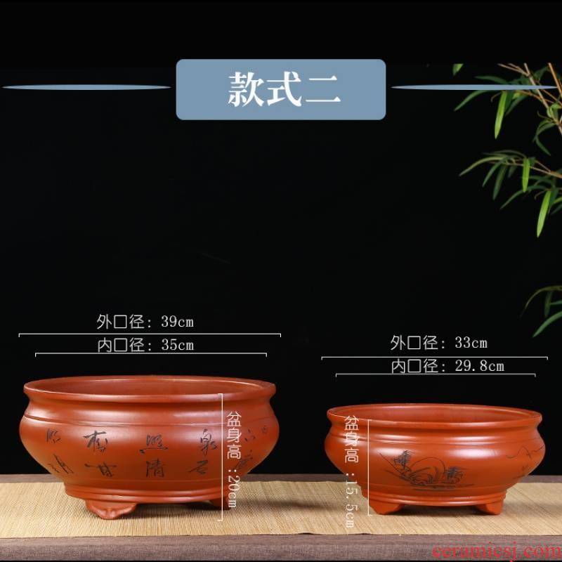 Purple sand flowerpot bowl tub hung indoor large balcony podocarpus asparagus ceramics glaze basin potted bowl round flower pot