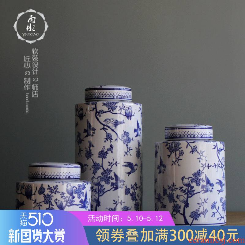 The rain tong home | jingdezhen blue and white porcelain ceramics classic wind round as cans ceramic pot sitting room porch place